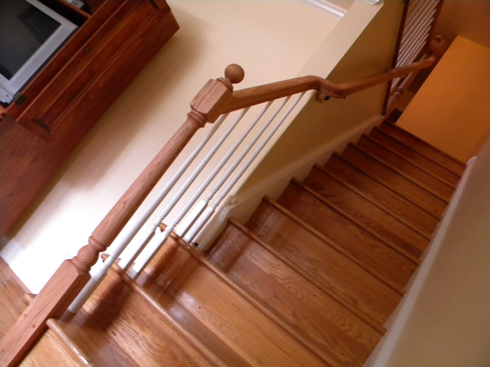Wood Stairs and Rails and Iron Balusters: Wood Handrail ...