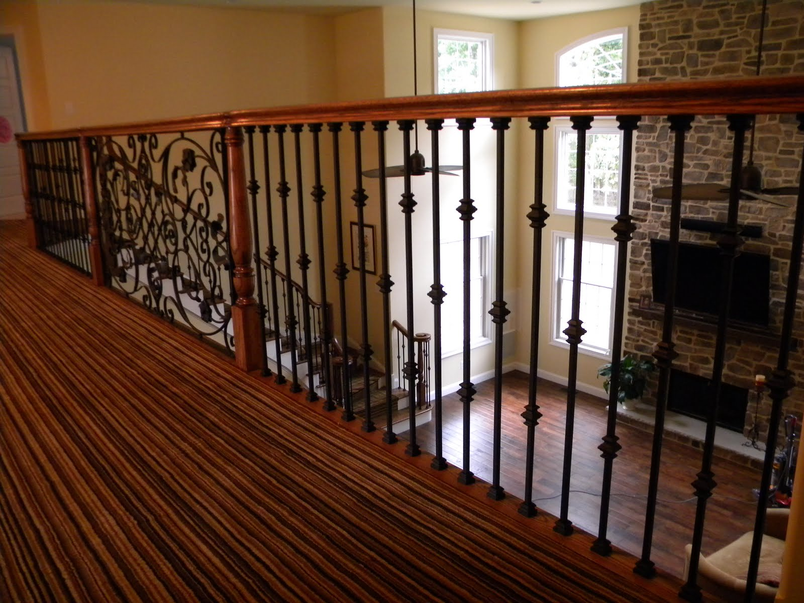 Wood Stairs And Rails And Iron Balusters Iron Balusters