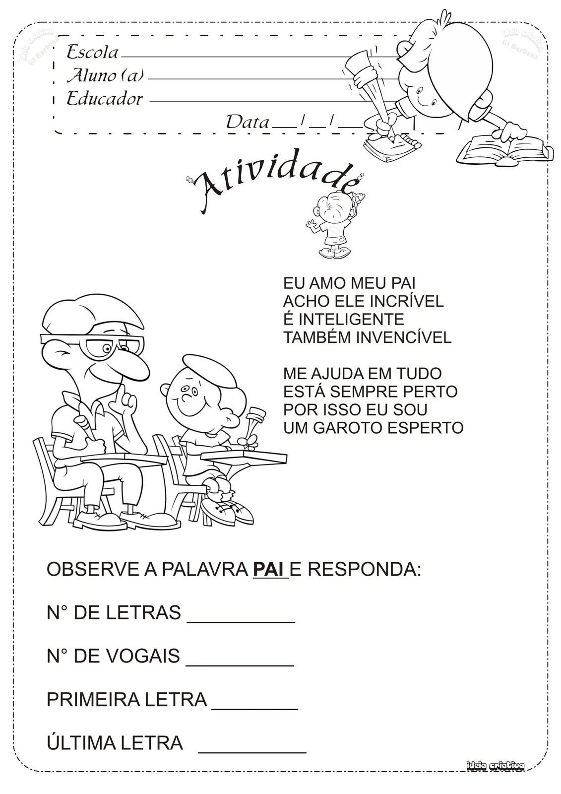 Atividade Dia Dos Pais Poema Ideia Criativa Educação Infantil Gi