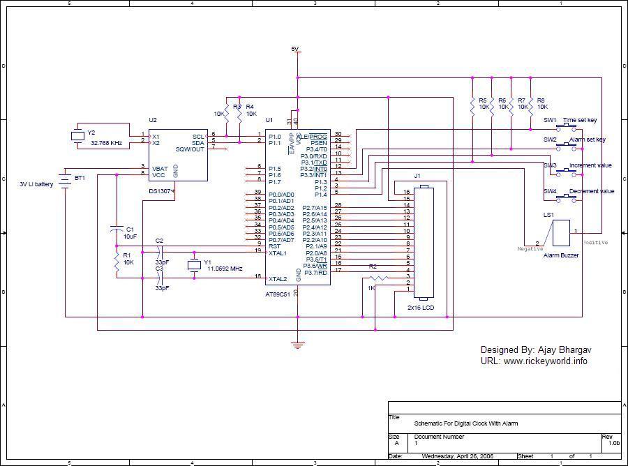 Ds1307 Alarm Digital Clock Circuit
