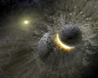A planetary collision imagined by a NASA artist