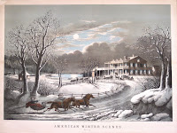 winter scene lithograph