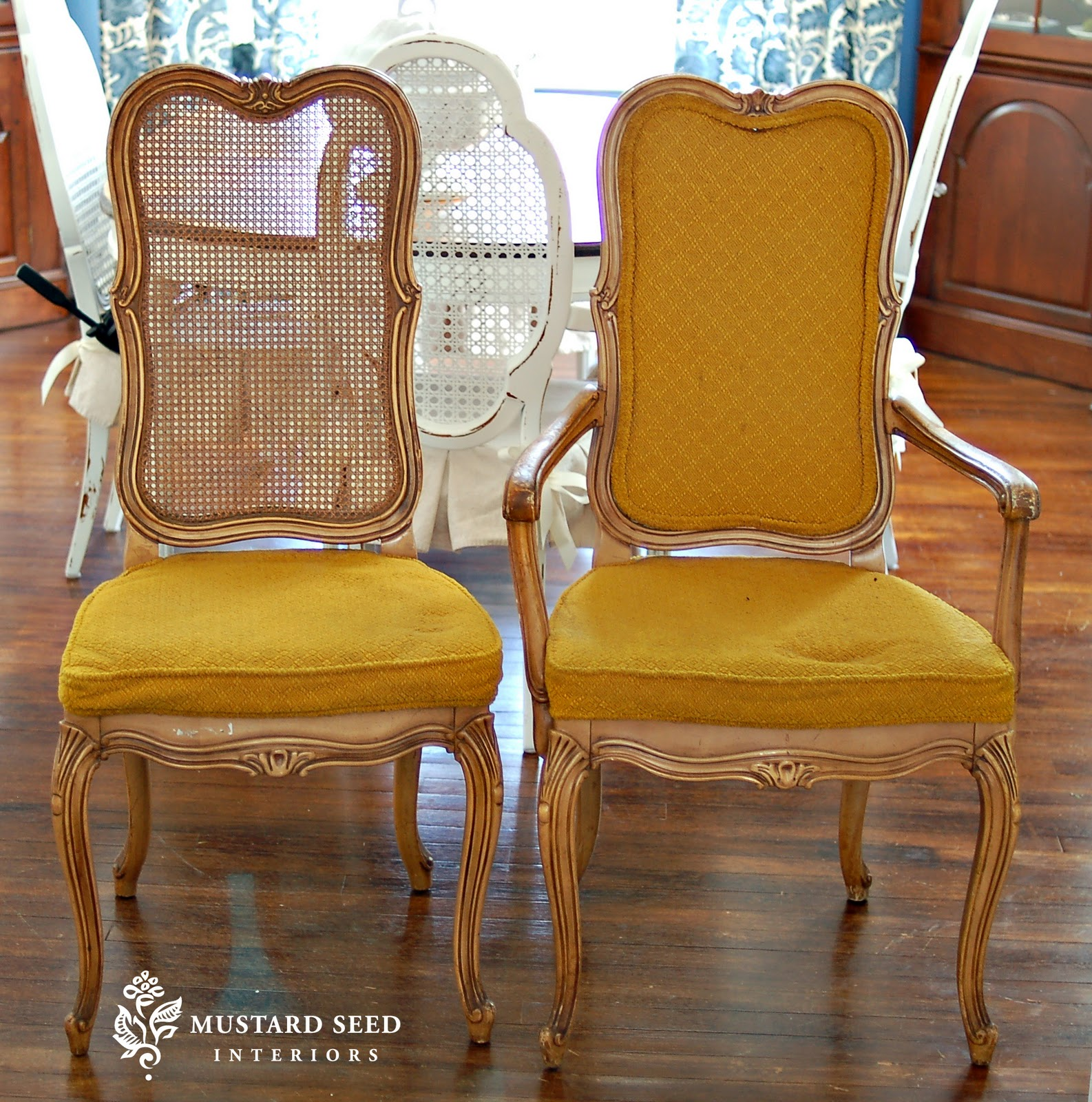 How To Replace Cane Back Chair With Fabric Eames Rocker Five French Chairs Miss Mustard Seed