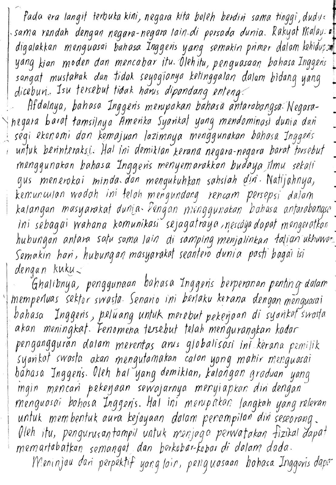 Contoh Essay English Pmr