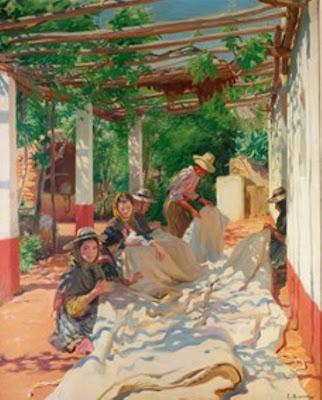 Cosiendo la Vela, Laureano Barrau Buñol, Pintor Catalán, Pintor español, Cuadros de Laureano Barrau Buñol, Barrau Buñol,  Laureano Barrau