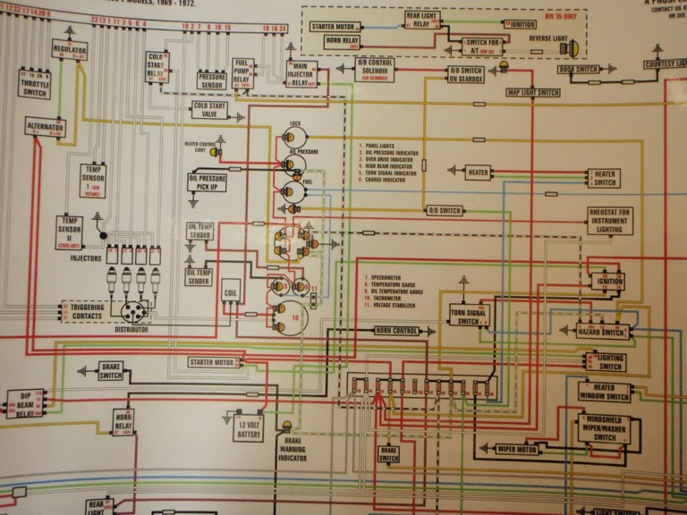 1965 1966 1967 Dodge A100 A108 Laminated 11x17 Color Wiring Diagram