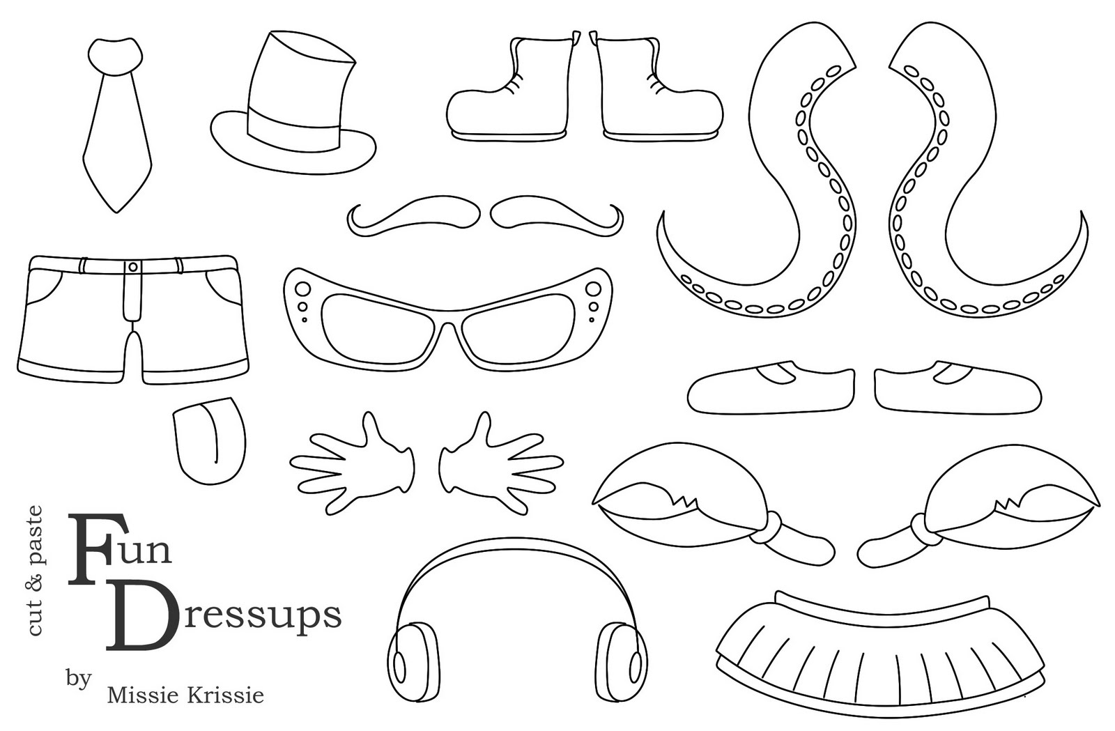 Missie Krissie Tuesday Freebies Cut And Paste Dressups