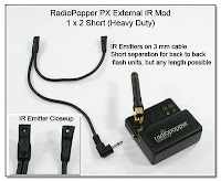 CP1104AC: RadioPopper PX External IR Mod - 1x2 Short (Heavy Duty) Cable with 2 LED Emitters