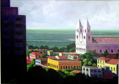 """""""Basílica de Nossa Senhora das Neves"""". Bruno Steinbach.Óleo / tela,  50 x 70  cm,  2006,  João Pessoa, Paraíba, Brasil."""