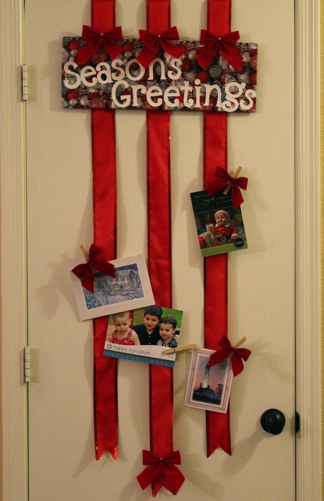 Ribbon christmas card holder - Christmas card display ideas ...
