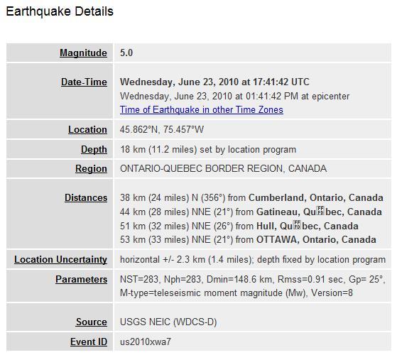 jackandcokewithalime: 5 0 Magnitude Earthquake in Ontario Felt in