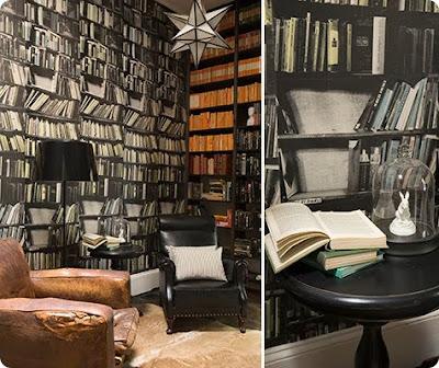 the steampunk home faux bookshelves
