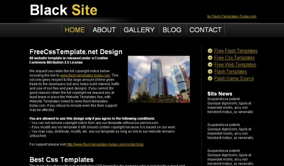 Free Black Yellow Site Blog CSS Template