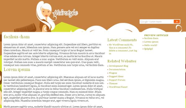Free Hair Salon Green Wordpress Theme