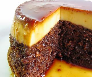 Flan Over Chocolate Cake