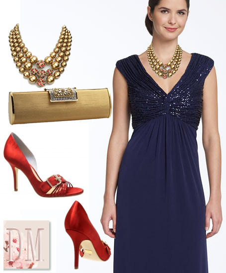 Vestido azul royal com vermelho