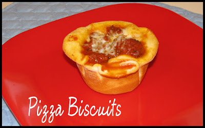 In a twist on traditional spaghetti or pizza, here are some pizza biscuits using ground beef, biscuits, and spaghetti sauce.