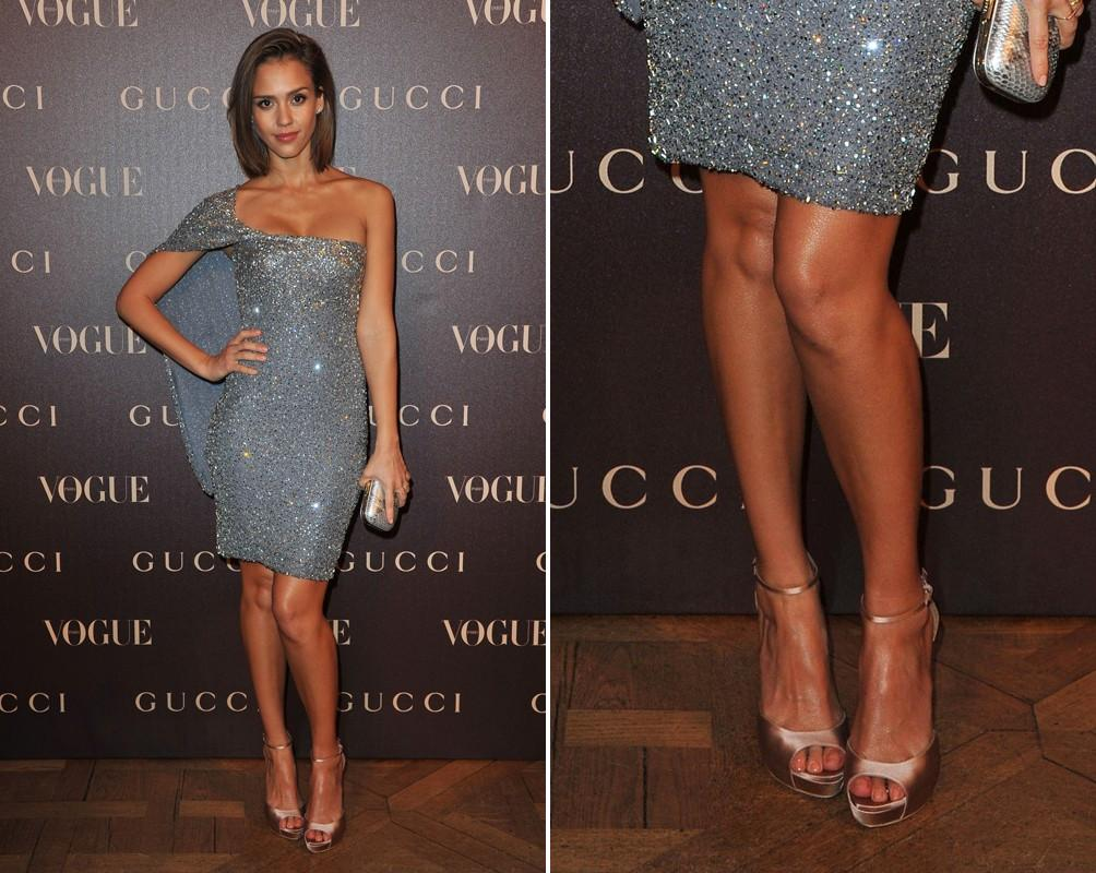 2cff1f0a6d7 Jessica dazzles in a metallic beaded gray dress designed by Gucci.  Completed her look with a Satin blush peep-toe heels and a silver clutch.