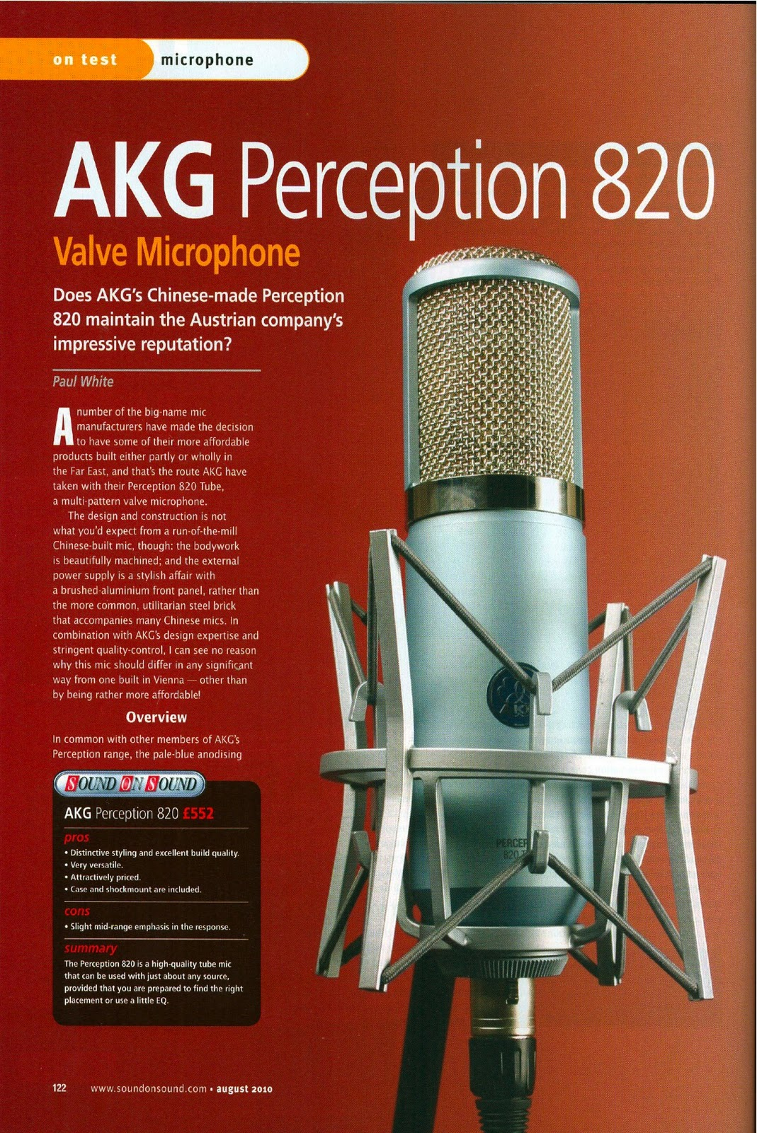 Harman Luxury Audio News: Pick Of The Hits - Sound On Sound - AKG Perception 820