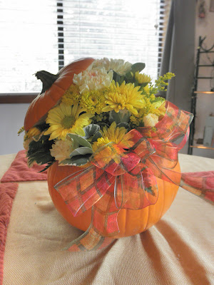 Fall Pumpkin Flower Arrangment