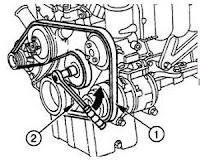 Serpentine belt diagram: 4-cylinder straight engine