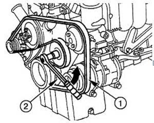 Serpentine belt diagram: 4-cylinder straight engine