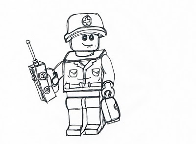 lego man drawing an army medic lego man