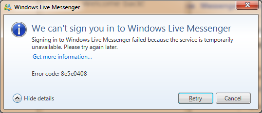 Windows Live Messenger Error Code 8e5e0408