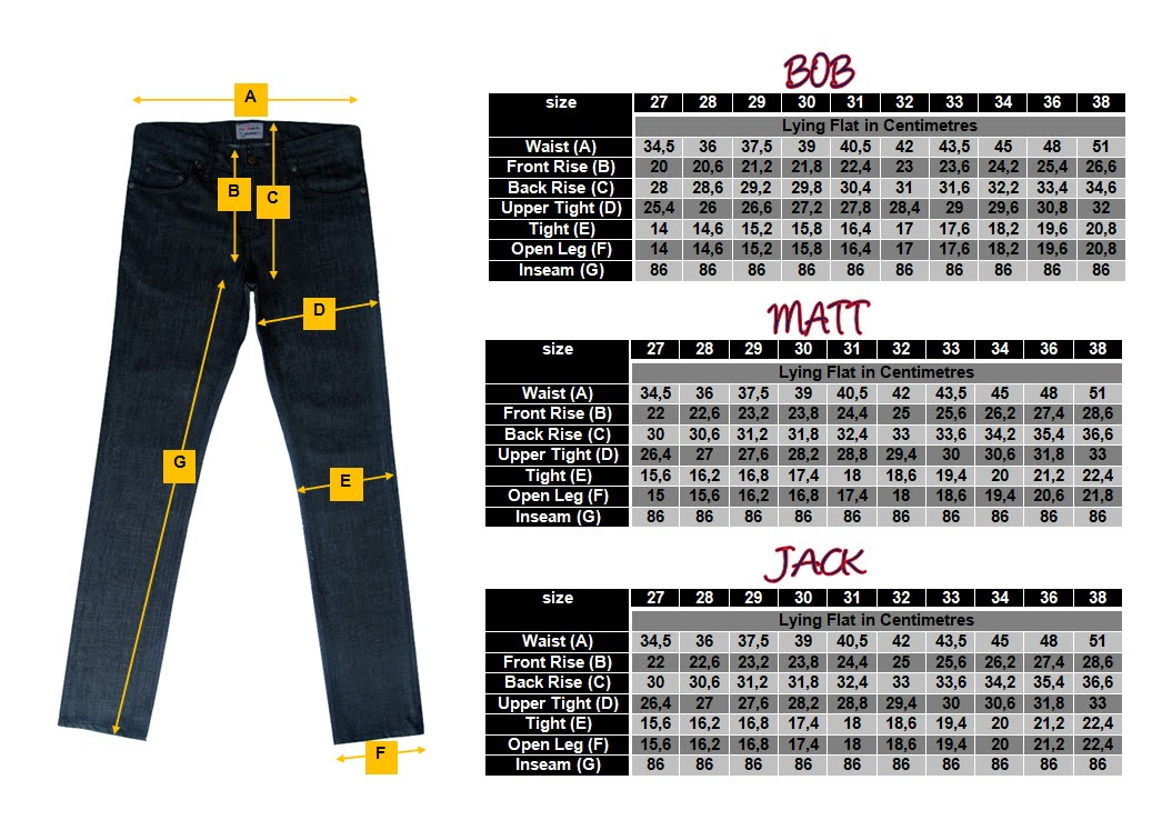 RUFFNECK JEANS SIZE CHART