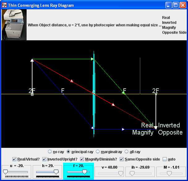 Ejs open source converging & diverging Lens object image