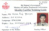 Identity card of the Trekking Guide