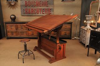 le grenier brocante industrielle table d architecte 1930. Black Bedroom Furniture Sets. Home Design Ideas