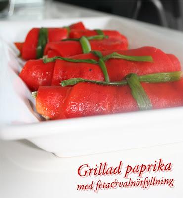 Grillad paprika med feta&valnöt
