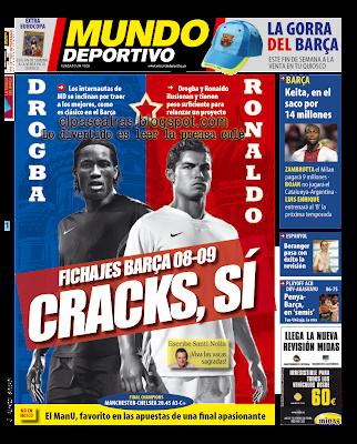 Prensa culé,Mundo Deportivo, pidiendo de fichaje a Cristiano Ronaldo para el Barcelona
