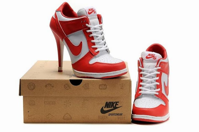 Nike Dunk Heels red and white heeled trainers women's sneakers