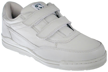 White Leather Velcro Tennis Shoes