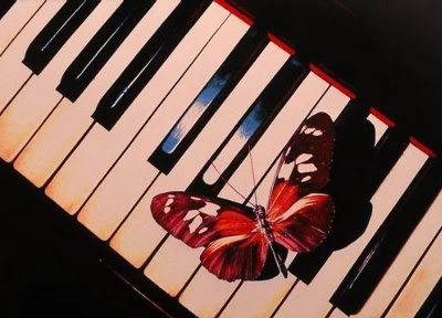 Butterfly on Piano Keyboard by Scott Berner