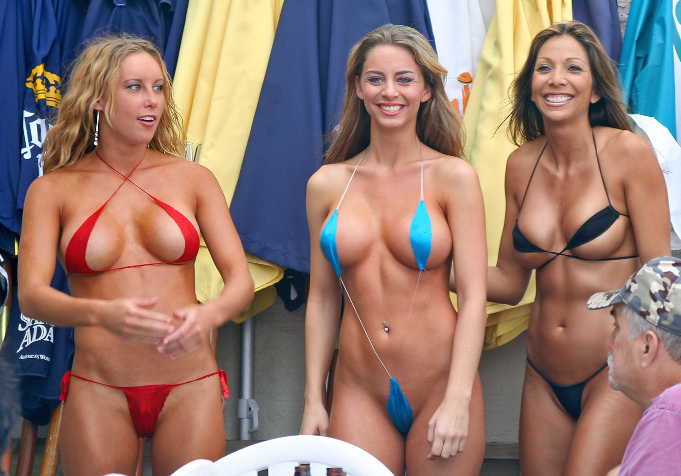 There micro bikini contest girls talented