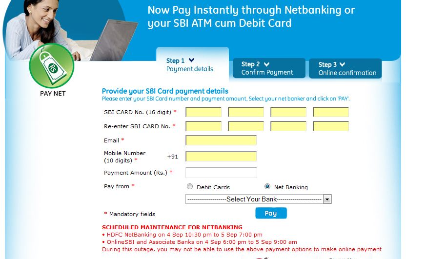 sbi credit card online payment by net banking