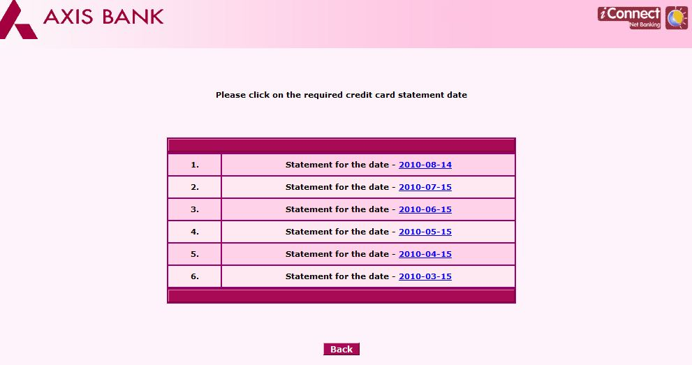 how to open axis bank debit card statement