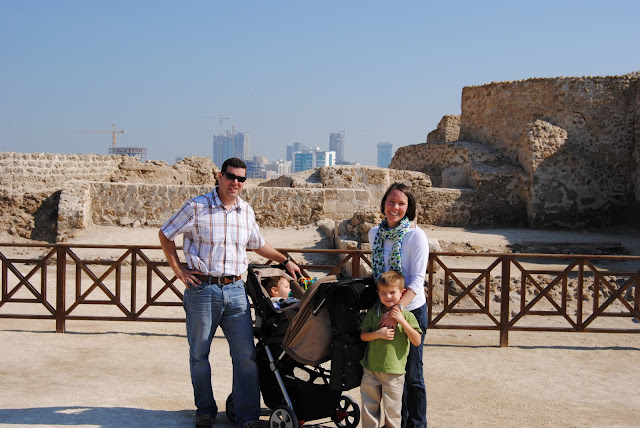 Old meets New, the Flusche Family at Bahrain Fort
