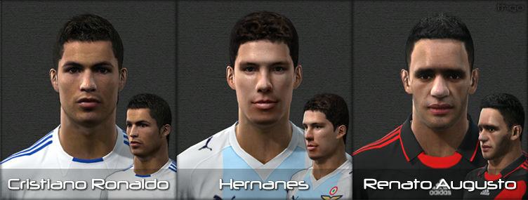 Download Face de Cristiano Ronaldo, Face de Hernanes e Face de Renato Augusto para PES 2010