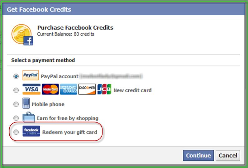 Redeem facebook credit gift card