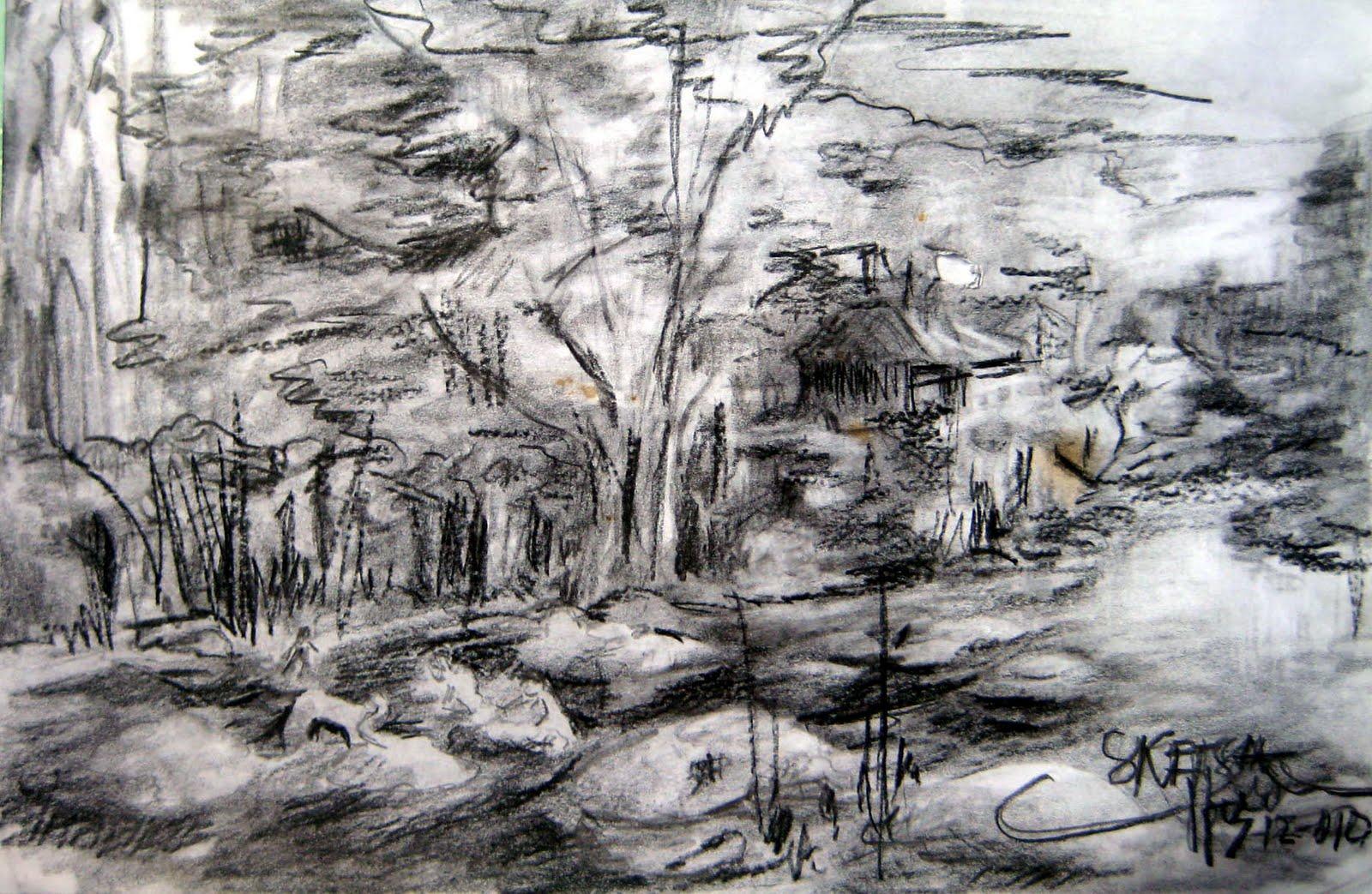 Sketsa Gambar Lukisan Pemandangan Alam Sobsketsa