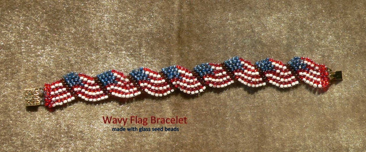 Patriotic Bracelet Uses The Peyote Sch And Colors Of Ole Glory Each Is Personalize To Individual Measurement Clasp Finish End Color