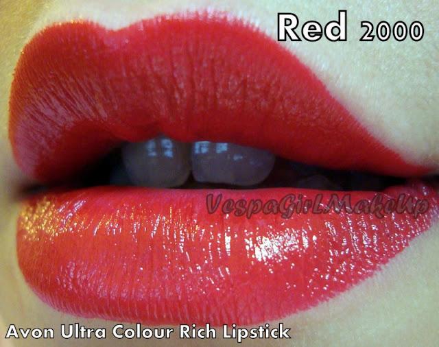 Retro White Pink Avon Ultra Colour Rich Lipstick Swatch On Lips