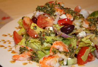 Greek Shrimp Salad with Chimichurri Dressing