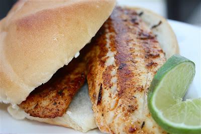 Blackened Tilapia Sandwich with Cilantro Lime Mayonnaise