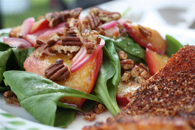 Spinach Salad with Stone Fruits and Maple-Spiced Pecans