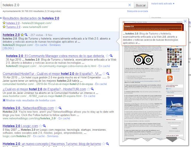 Algunas cosas que he observado en Google Instant Preview